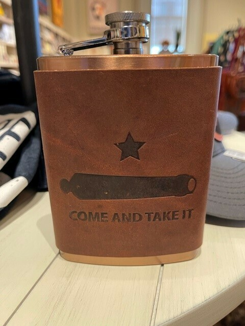 Leather Wrapped Copper Coated Flask