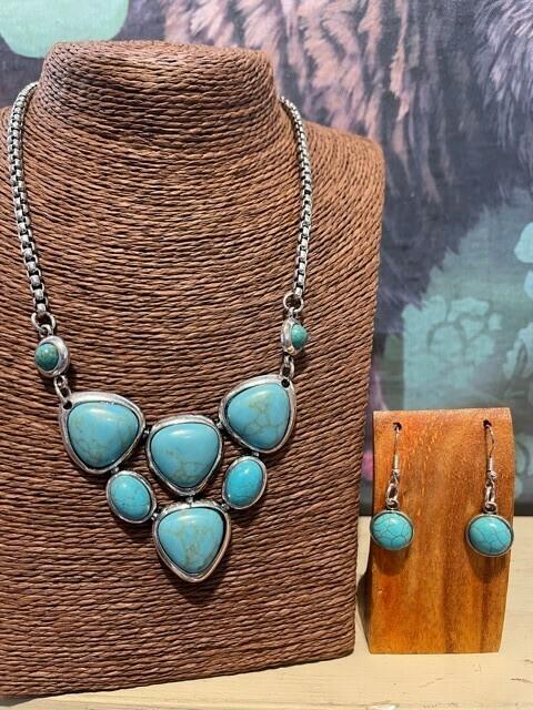 Turquoise Statement Necklace Set