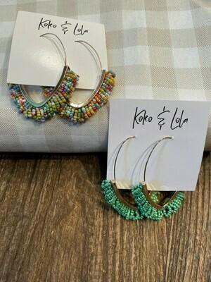 Koko & Lola Boho Beaded Hoop Earrings