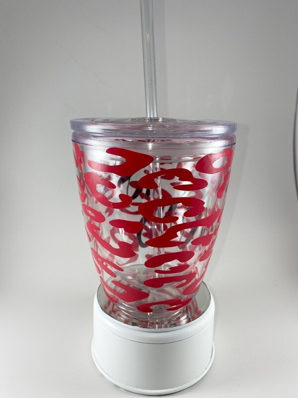 Kids Plastic 10oz Pink Leopard Tumbler With Name