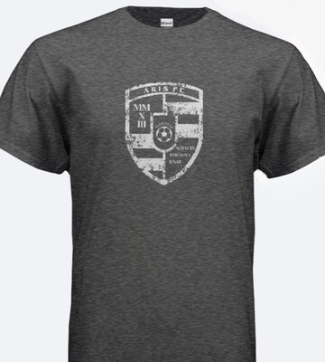 Adult Unisex SS Crest Tee (grey/black/red)