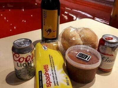Boîte-repas «spaghetti» - souper pour 2 à préparer (avec bières et vin)