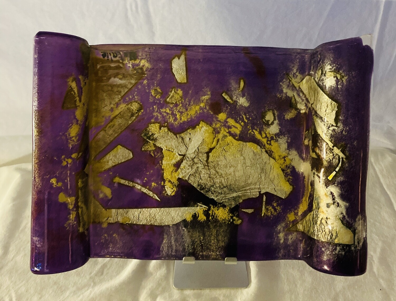 "Purple/silver/gold serving dish 11.5""x8""x1.5"""