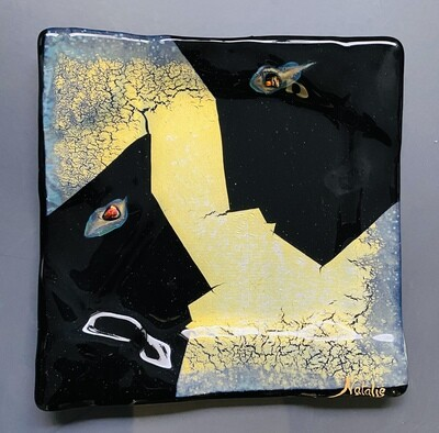 """Faces gold on black 8.5""""x8.5"""""""