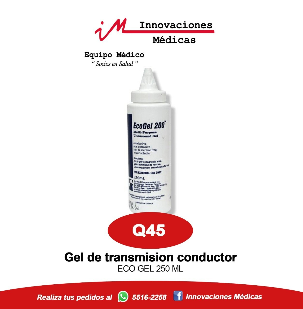 Gel conductor para ultrasonido