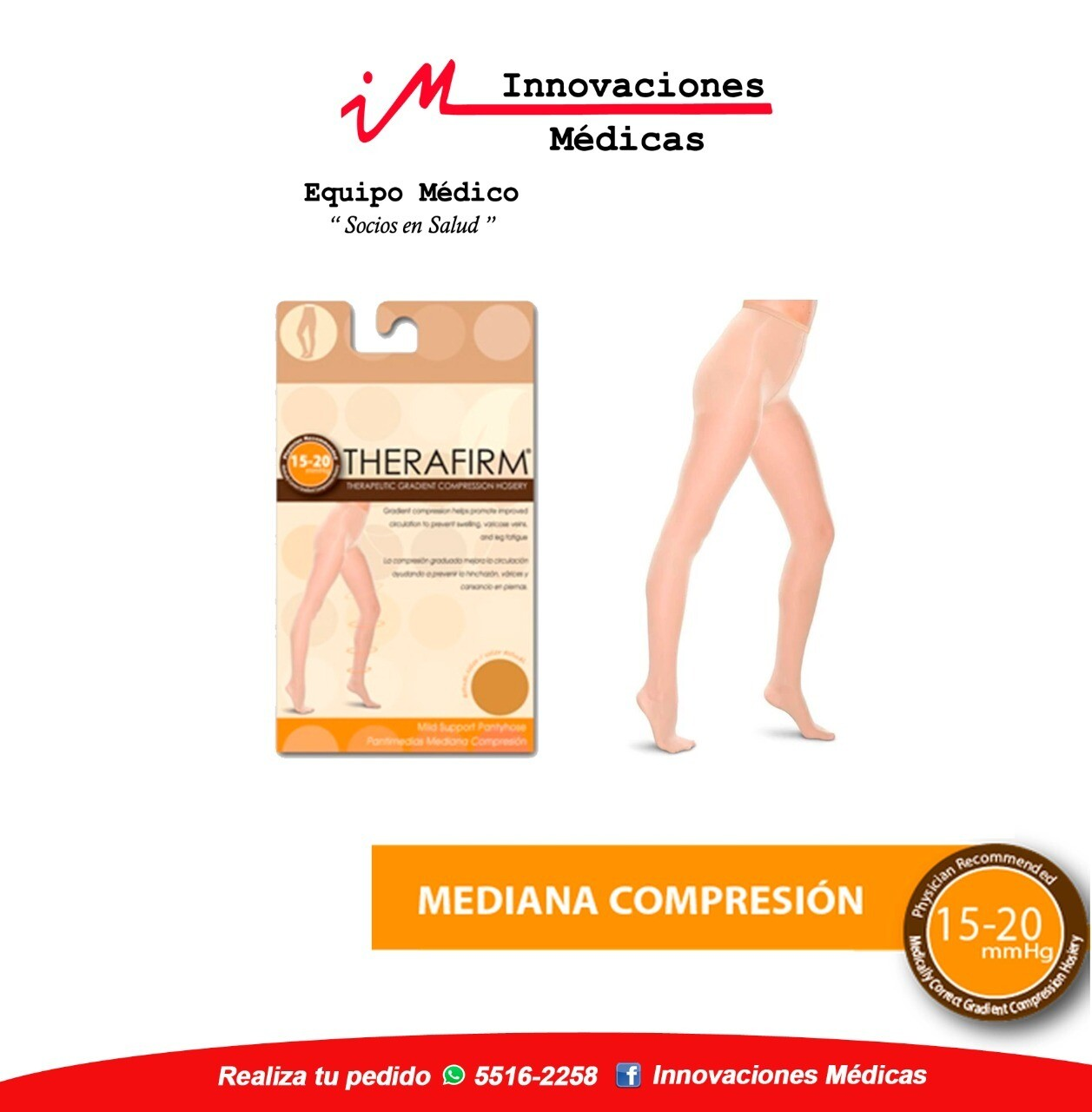 Panty de compresión 15-20mmHg, natural
