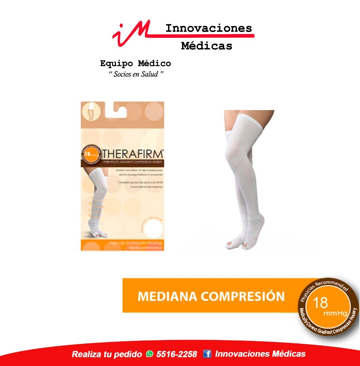 Medias Antiembolica 18mmHg apertura en pies, blanco