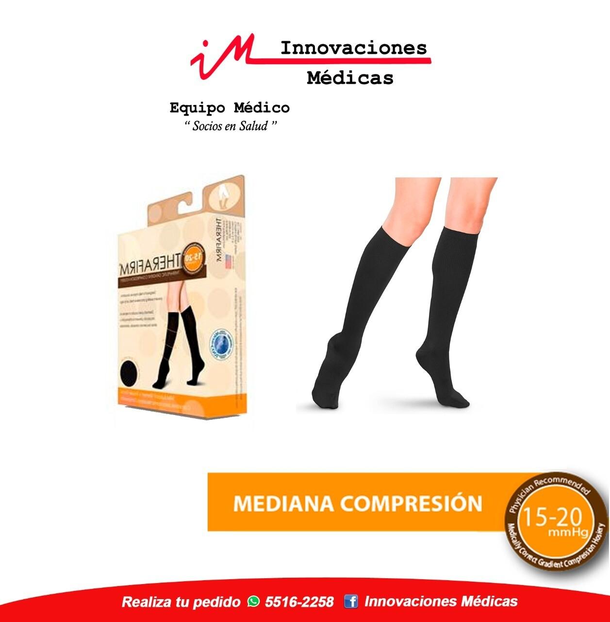 Calceta de compresión 15-20mmHg a la rodilla, negro
