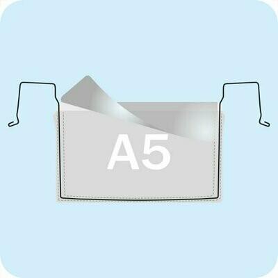 Drahtbügeltasche DIN A5 Querformat mit Klappe - Transparent