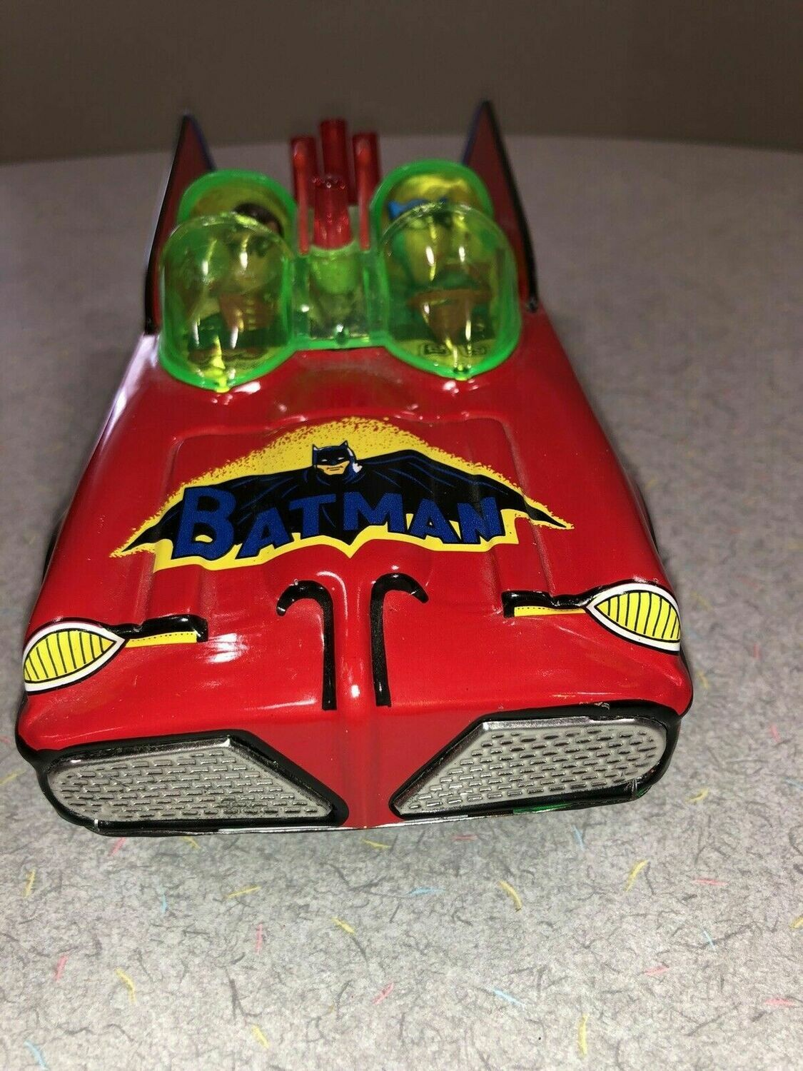 VINTAGE TIN TOY BATMOBILE BATMAN & ROBIN BATTERY OPERATED RED 1960's KH