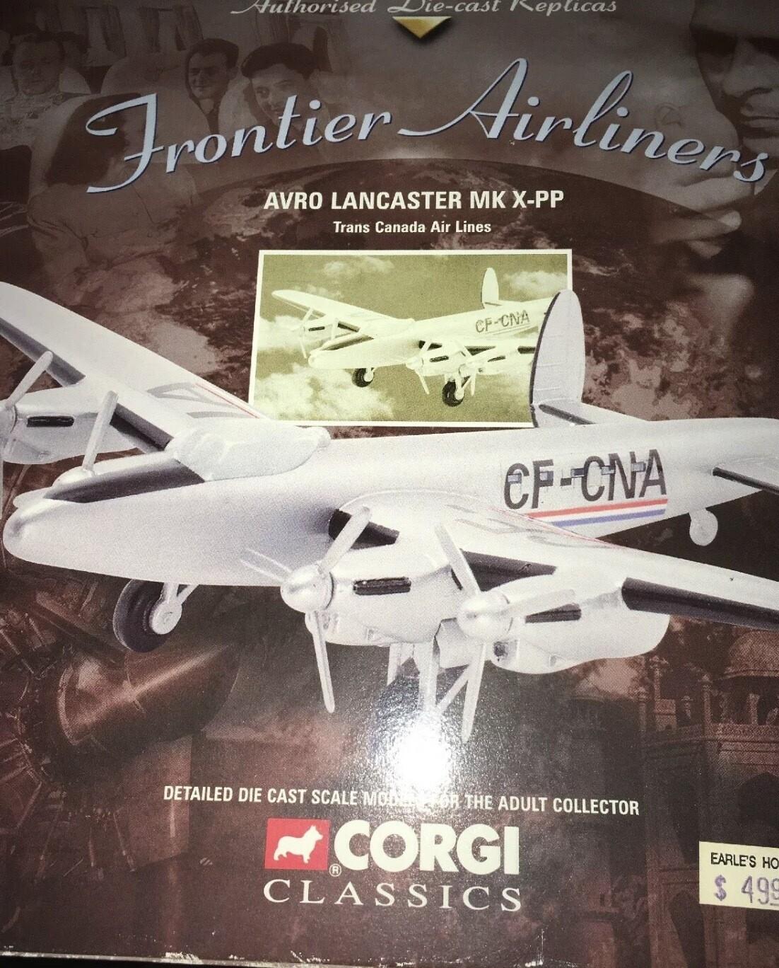 corgi aviation archive frontier airlines avro lancaster mk x-p