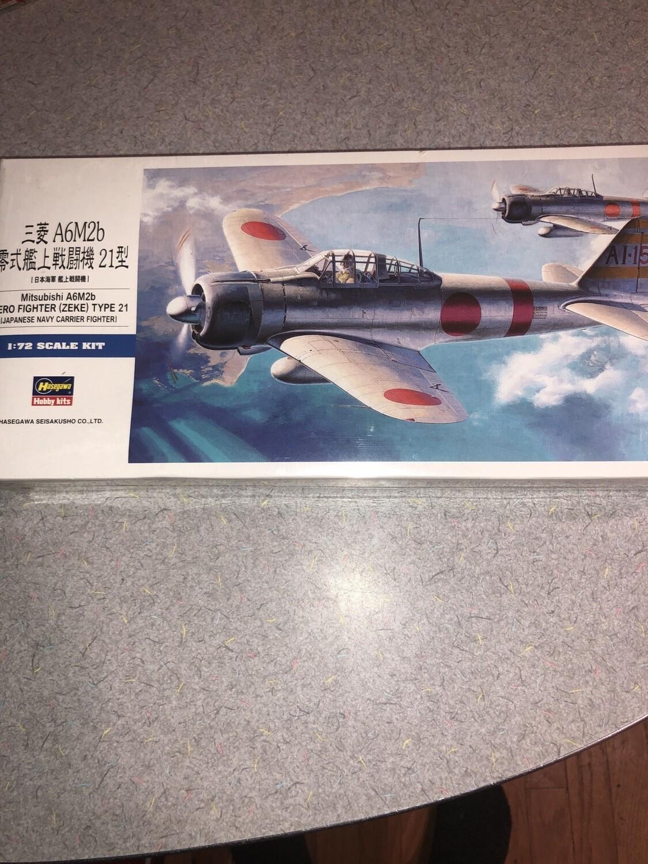 Hasegawa 1/72 Scale Mitsubishi Zero A6M2B Zeke Type 21 Fighter Sealed