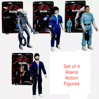 Alien 3 3/4-Inch ReAction Figures Set Of 4