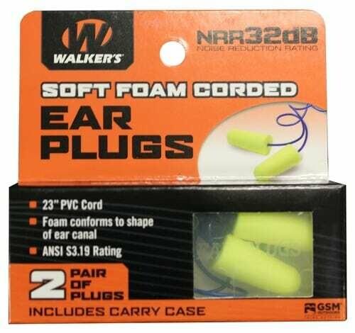 Walker's Soft Foam Corded Ear Plugs 2pk
