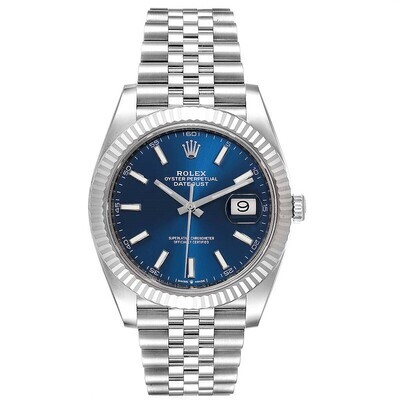 AAA QUALITY Datejust 41Mm 126334 Steel White Gold Blue Dial Jubilee