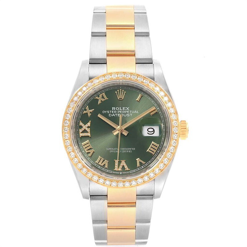 AAA QUALITY Date Just 36Mm 126283RBR Olive Green Diamond Dial & Bezel