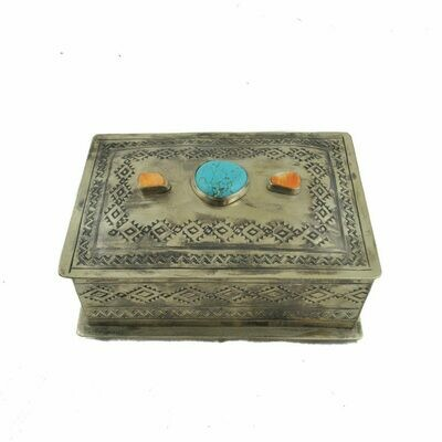 Multi Stone Stamped Box