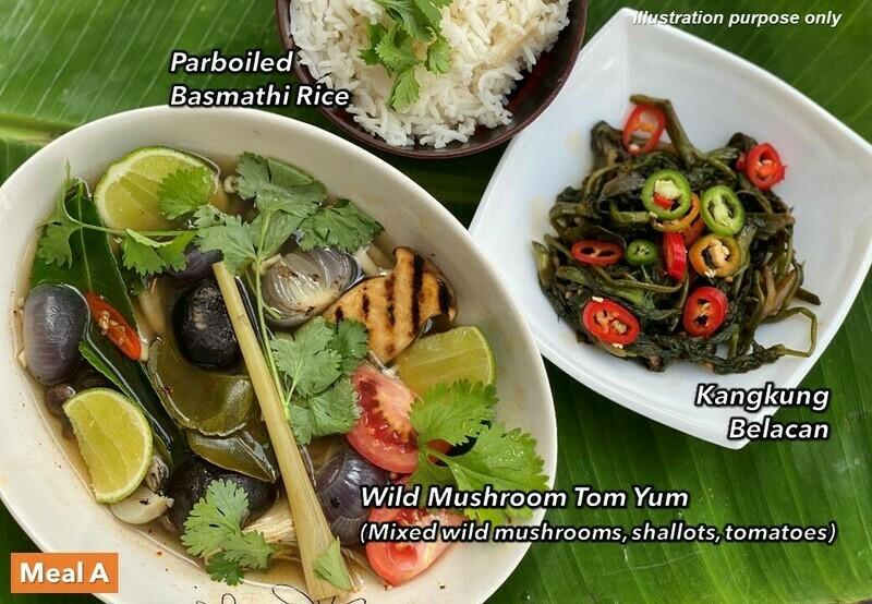 14 Mar (SUN) [Mushroom Tom Yum   Tamarind Rice   Nasi Kerabu Ala Veg]