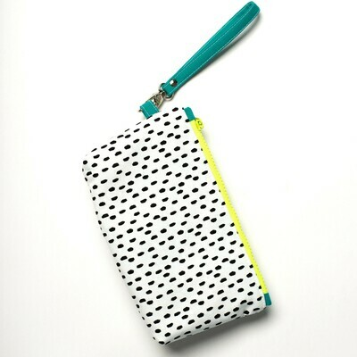 Wildflower Wristlet - Black splotches, Neon & Teal
