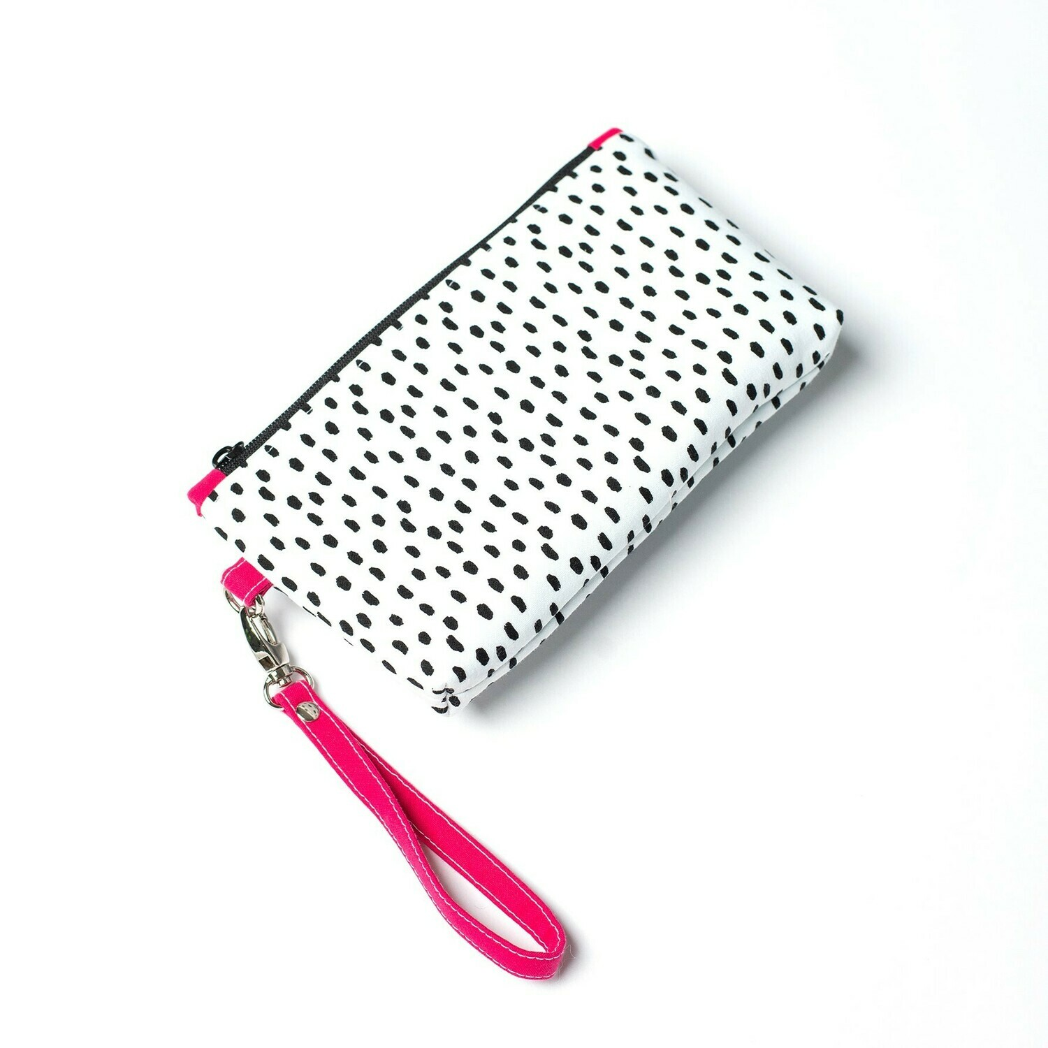 Wildflower Wristlet - Black splotches & Fuschia