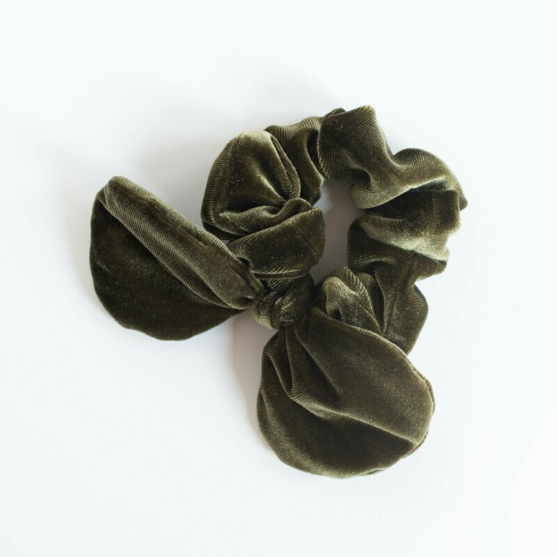 Georgia Belle Scrunchie - Velvet - Olive Green