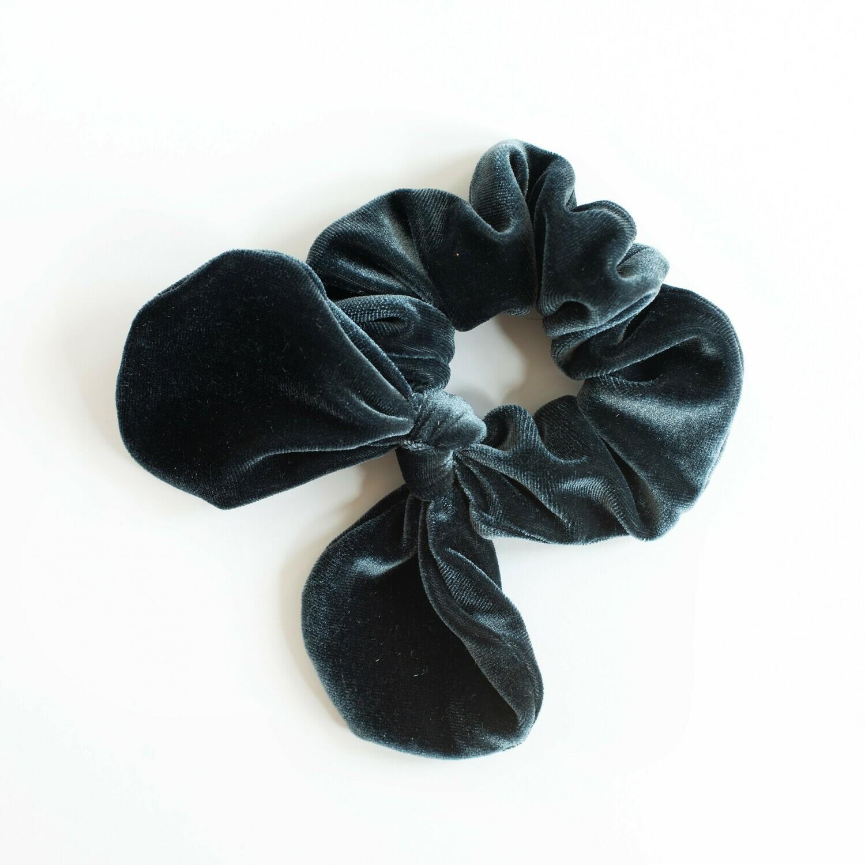 Georgia Belle Scrunchie - Velvet - Slate Blue