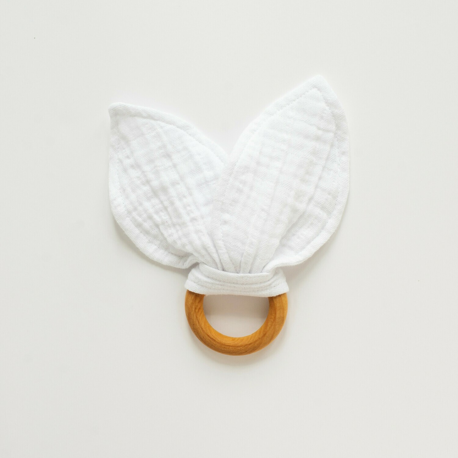 Spring Snow Bunny Teether - White Gauze