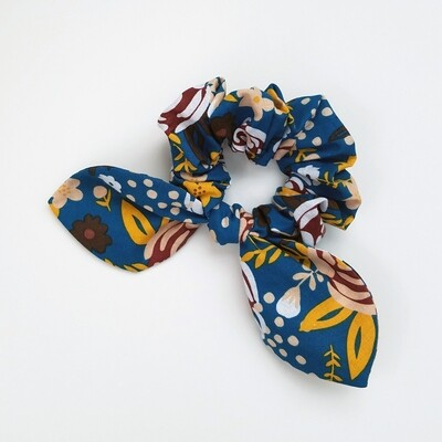 Georgia Belle Scrunchie - Cotton - Blue Floral