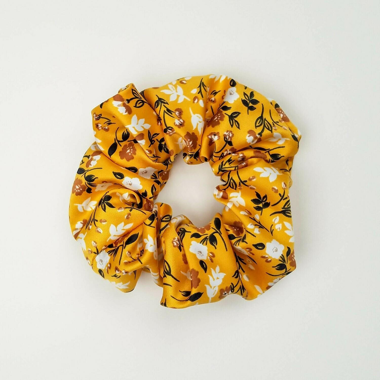 Sunland Scrunchie - Satin - Yellow Floral
