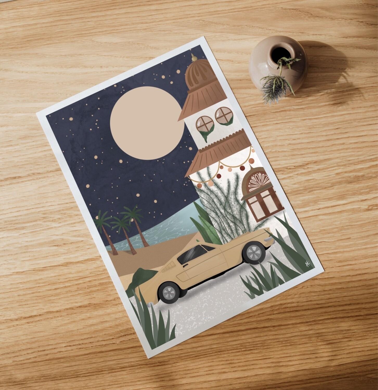 MIDNIGHT IN MOROCCO Art Print - choose car colour