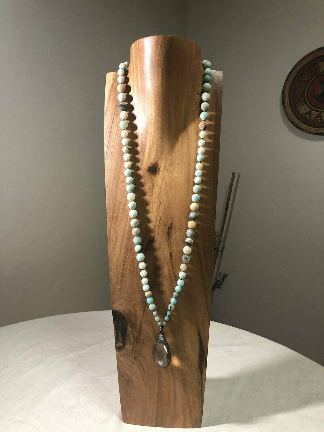 Amazonite and Crystals Pendant   Necklace
