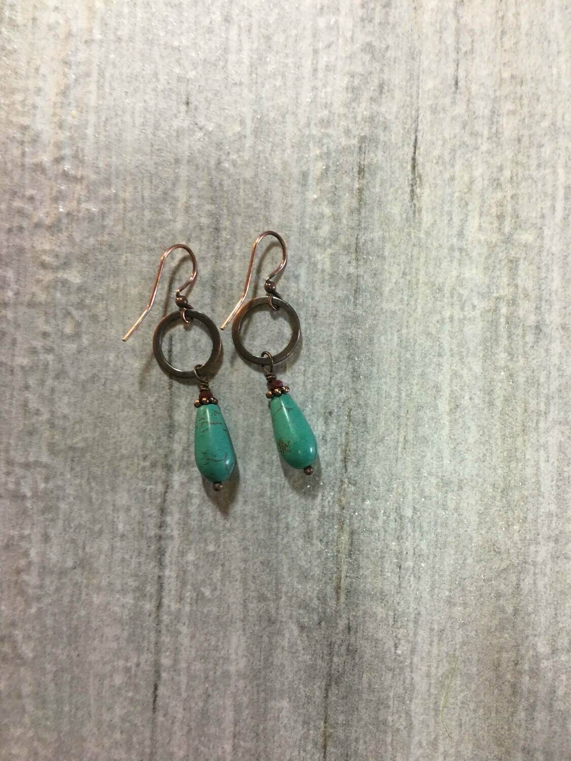 Copper and Turquoise Dangle and drop earrings .