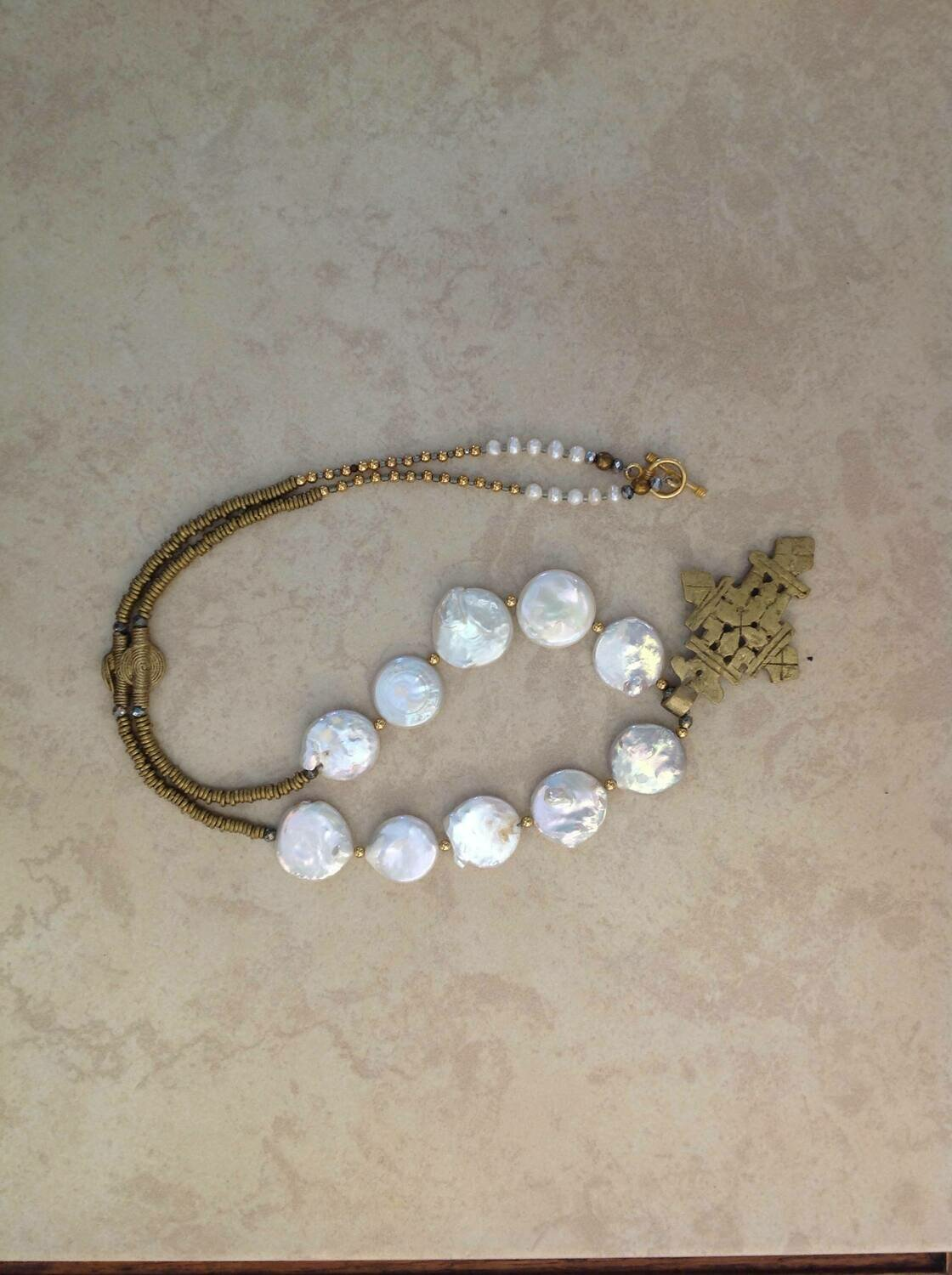 Coin Freshwater Pearls with Ethiopian Cross .One of a Kind.