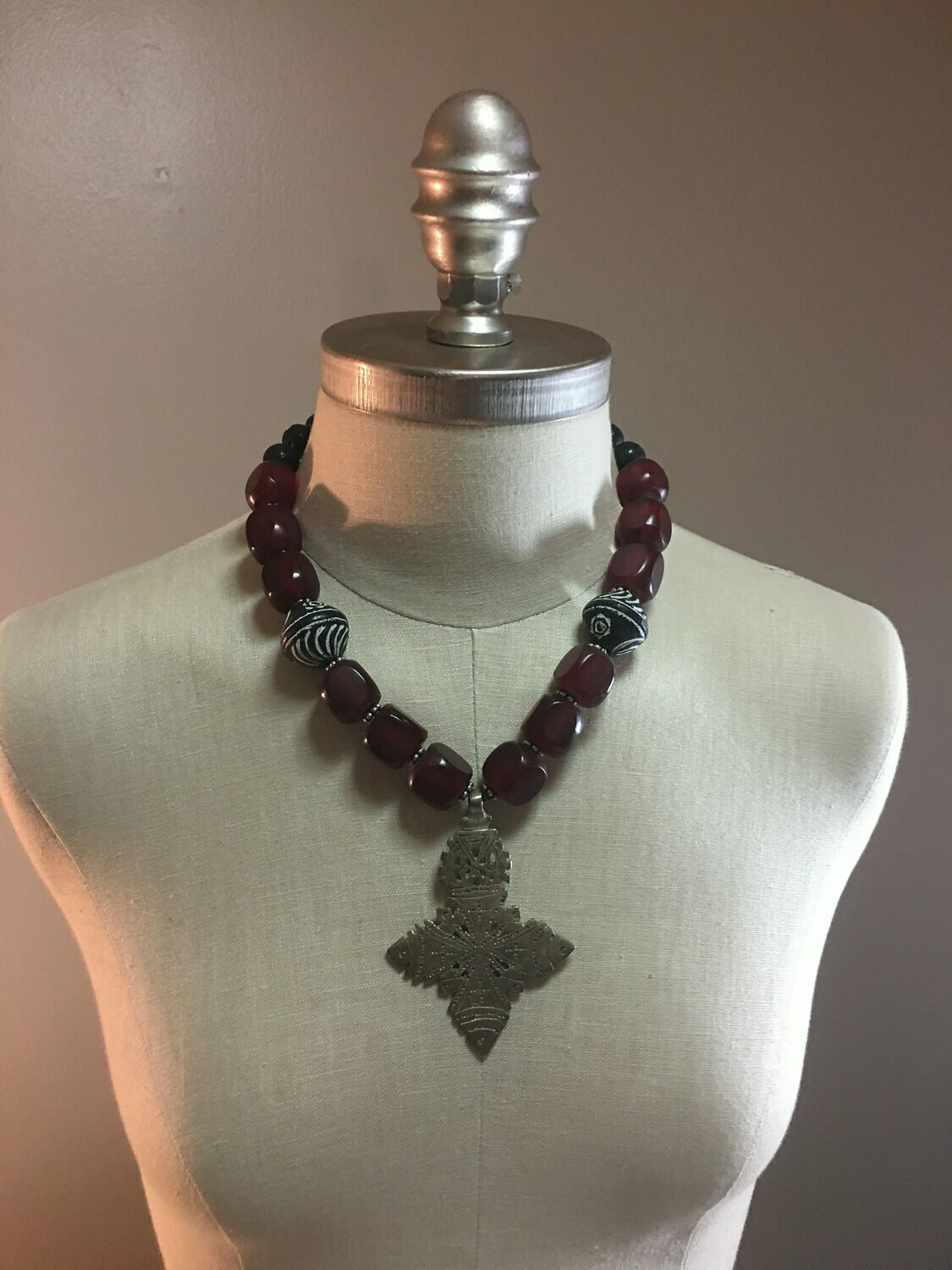 Ethiopian and Cherry Amber Necklace