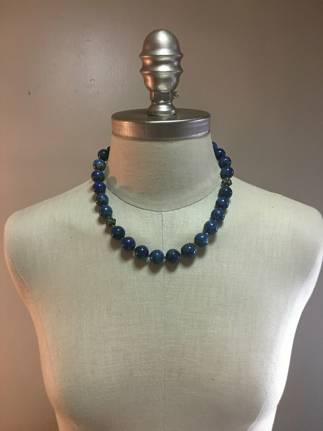 Lapis Lazuli and Sterling Silver Beaded necklace with Toggle closure