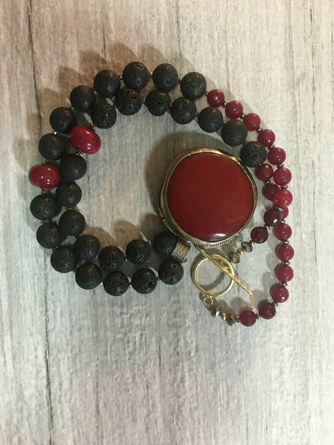 Boho Black and red necklace