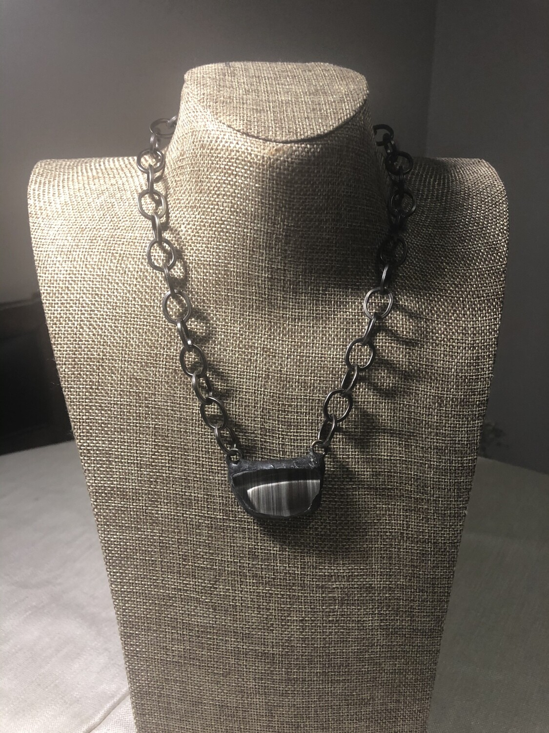 Geometric Soldered Glass and Gunmetal Chain