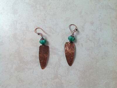 Hammered copper Dangles Earrings