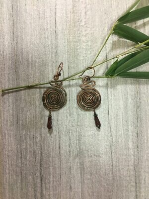 Hammered Copper Spirals with multicolored Czech glass