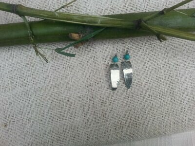 Hammered Nikel Silver Triangle Earrings