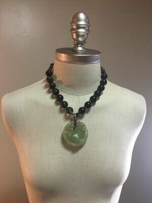 Green Jade Pendant Necklace with 22mm  chunkysmoky quartz stones