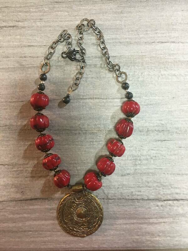 Red Coral  with an Ethiopian Brass pendant