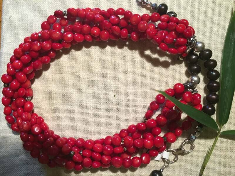 Multi strand Red Coral and Freshwater Pearls Necklace