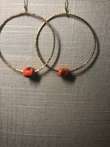 Hammered Brass Hoops With African  Kazuri Trade Bead.