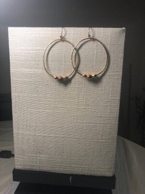 Hammered Copper Hoops With Brass