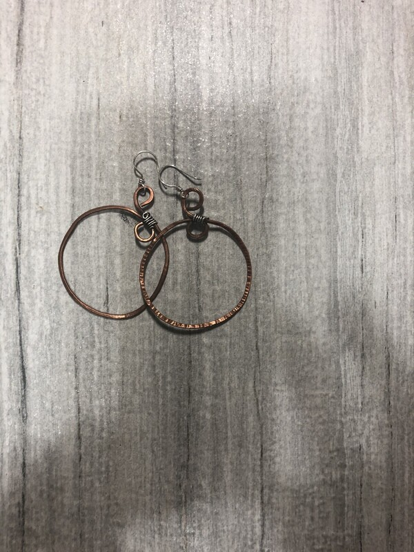 Hammered Copper and Sterling Hoops