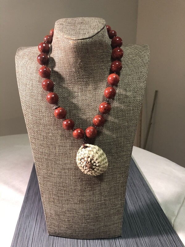Sweet grass and Red Coral Pendant Necklace