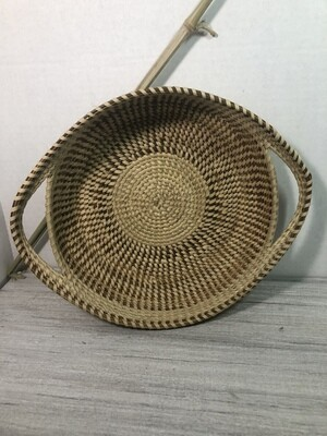 Tri-Color Sweetgrass Bread Basket with Handles