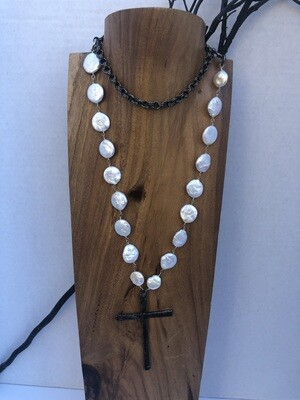 Coin Freshwater Pearls and Gunmetal Necklace