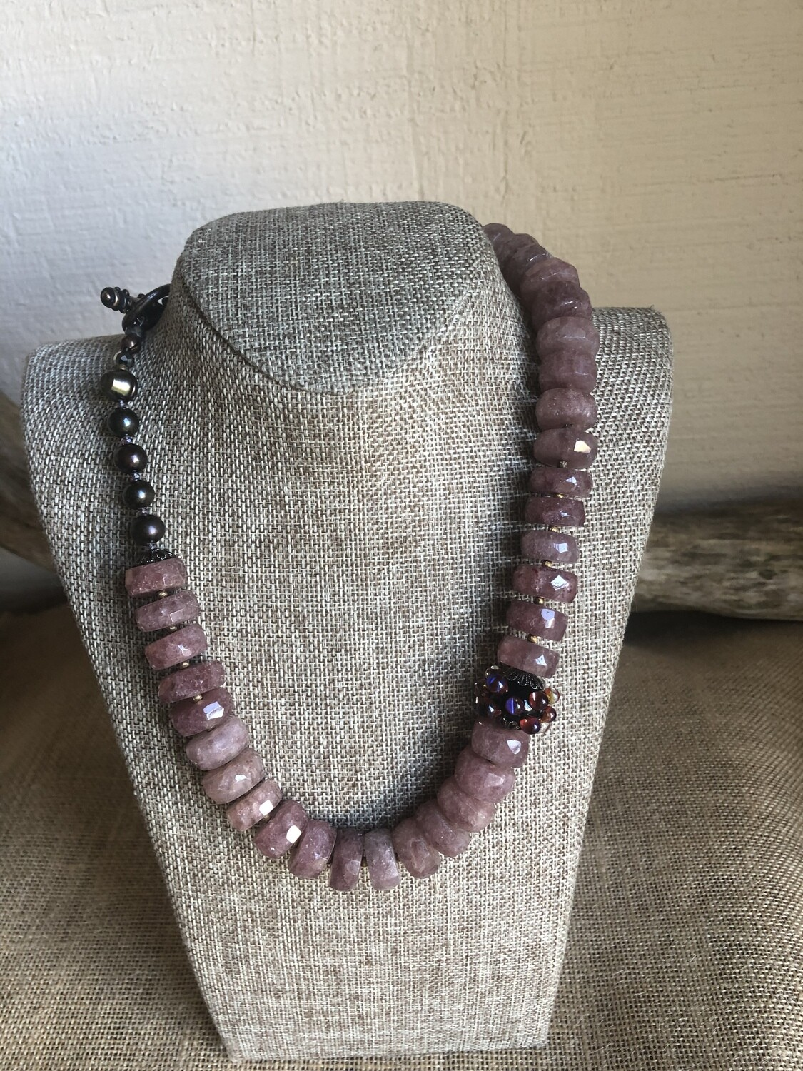 Ruby Quartz  and Hand Blown Glass Necklace